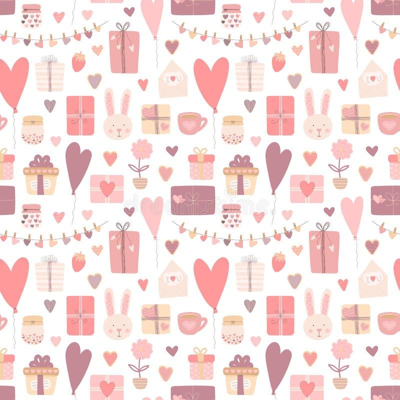 Sömlös modell av hand-drog förälskelsesymboler Vektorbild för valentin dag, vänner, tryck, kläder, textiler, kort, baner, fluga vektor illustrationer