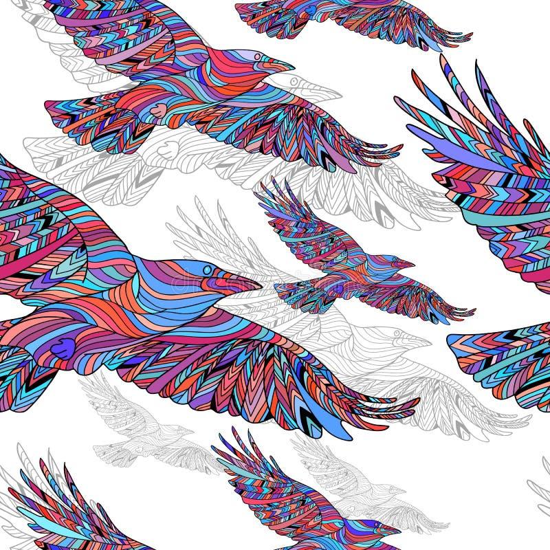 Sömlös modell av Hand-drog galanden med den etniska blom- modellen abstrakt bakgrund royaltyfri illustrationer