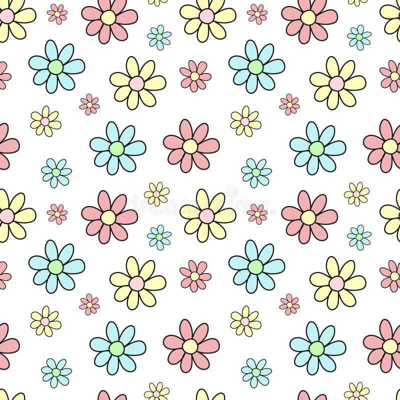 Sömlös modell av hand-drog mångfärgade blommor Vektorbakgrundsbilden för ferie, baby shower, girl'sfödelsedag, skrivar ut I royaltyfri illustrationer