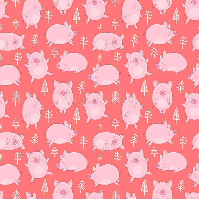 Sömlös modell av hand-drog svin och julgranar på en isolerad röd bakgrund Vektorillustration av spädgrisar för det nytt vektor illustrationer