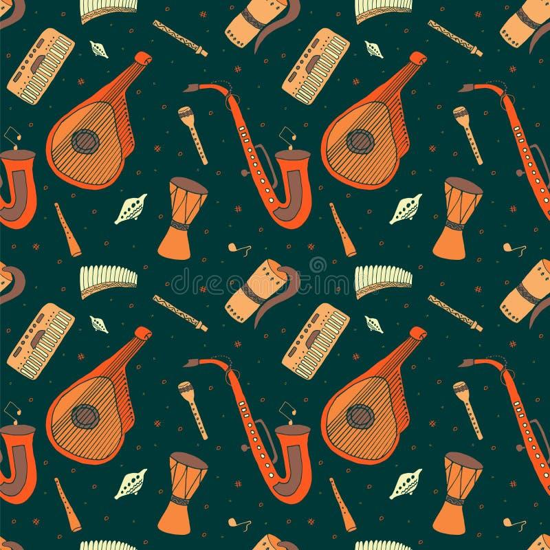 Sömlös modell av hand drog traditionella slaviska ukrainska musikinstrument vektor illustrationer