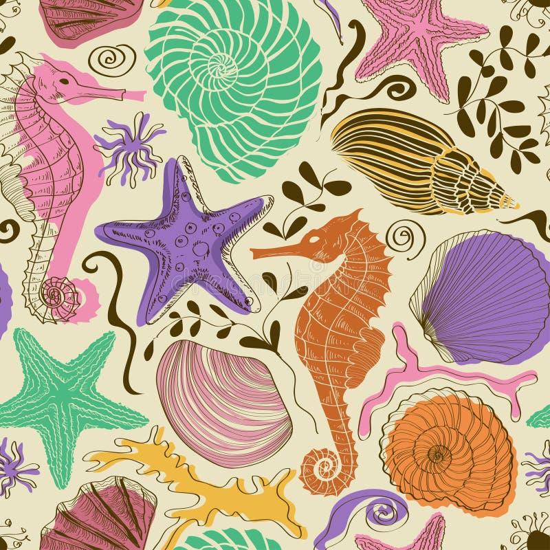 Sömlös modell av havsdjur vektor illustrationer