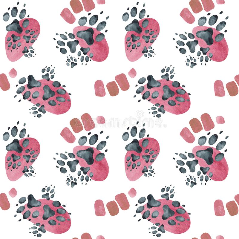 Sömlös modell av hundfotspår på rosa fläckar för flygillustration för näbb dekorativ bild dess paper stycksvalavattenfärg royaltyfri illustrationer