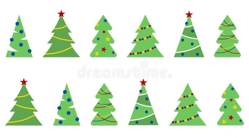 Sömlös modell av illustrationen av jul och nya Yaer träd royaltyfri illustrationer