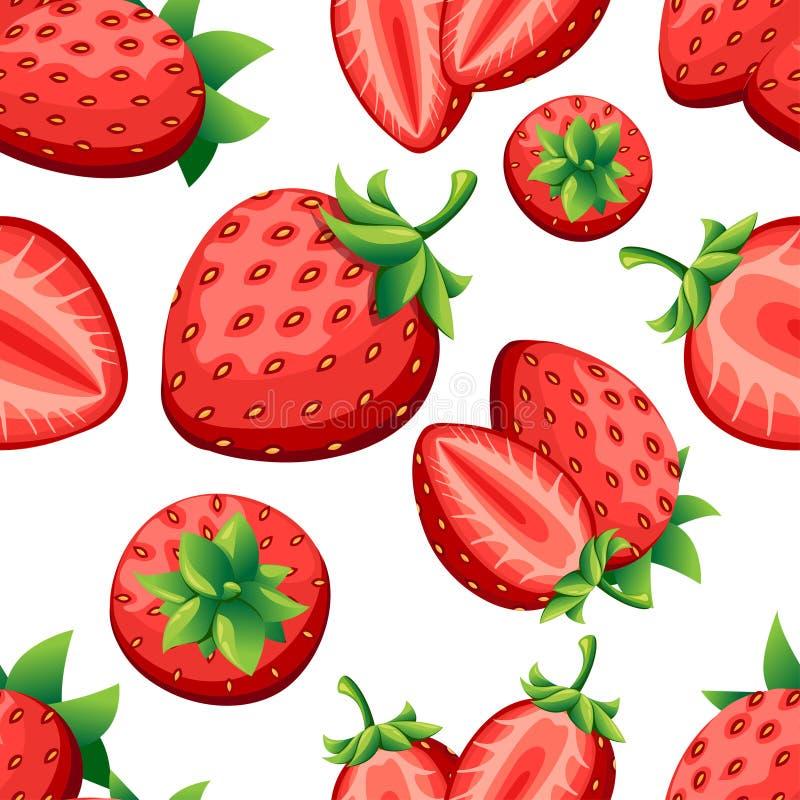 Sömlös modell av jordgubben och skivor av strawberrys Vektorillustration för den dekorativa affischen, emblemnaturprodukt, farme royaltyfria bilder