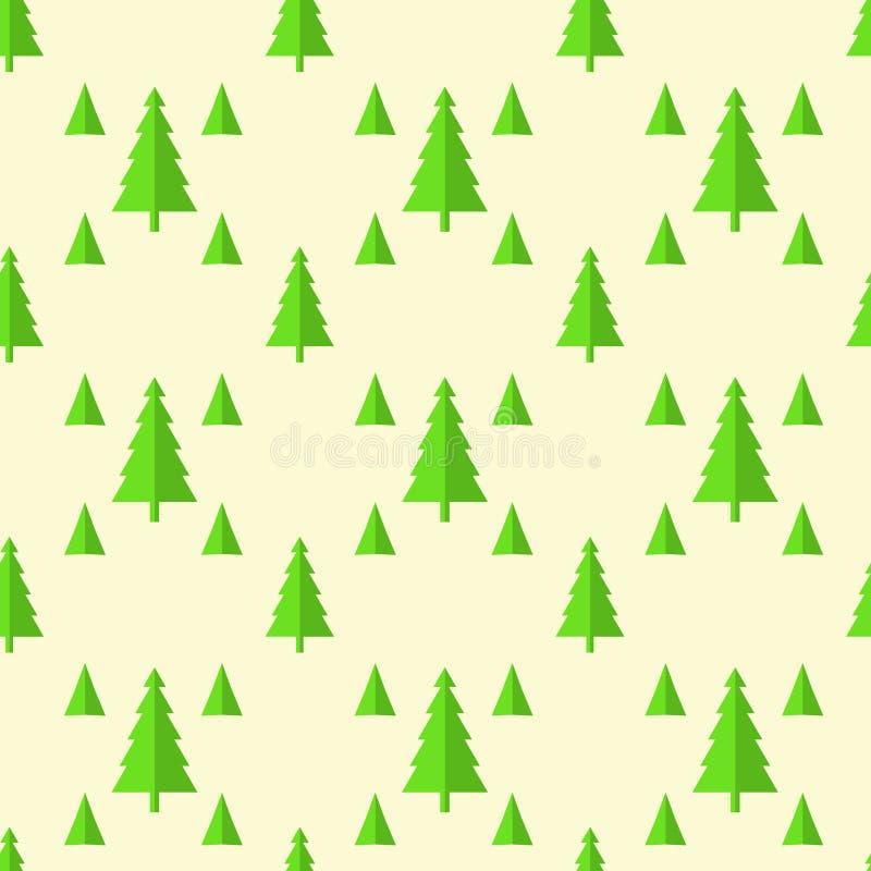 Sömlös modell av julgranar, isolat på guling stock illustrationer