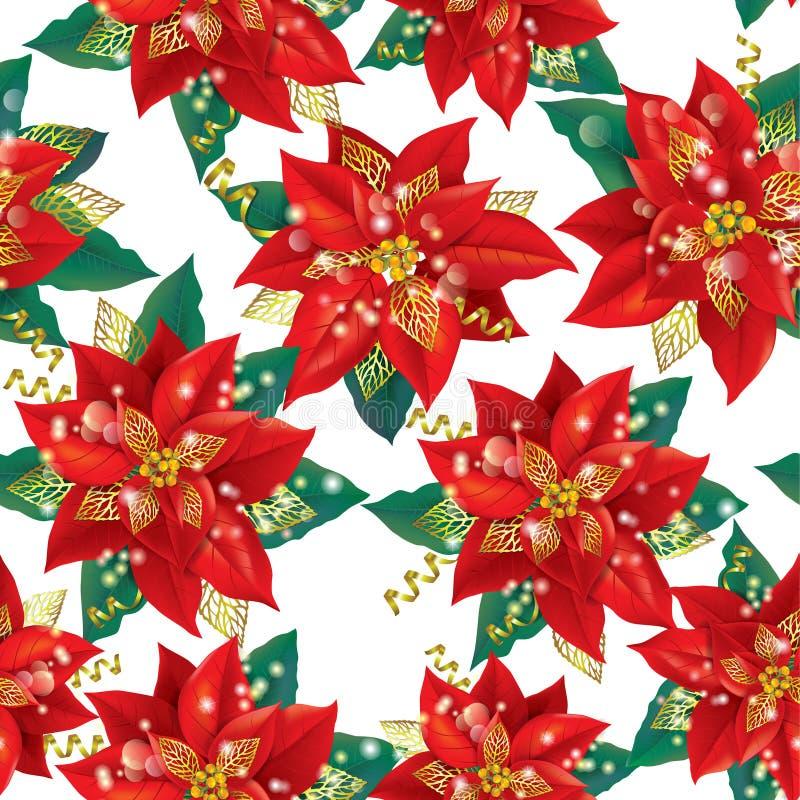 Sömlös modell av juljulstjärnan med guld stock illustrationer