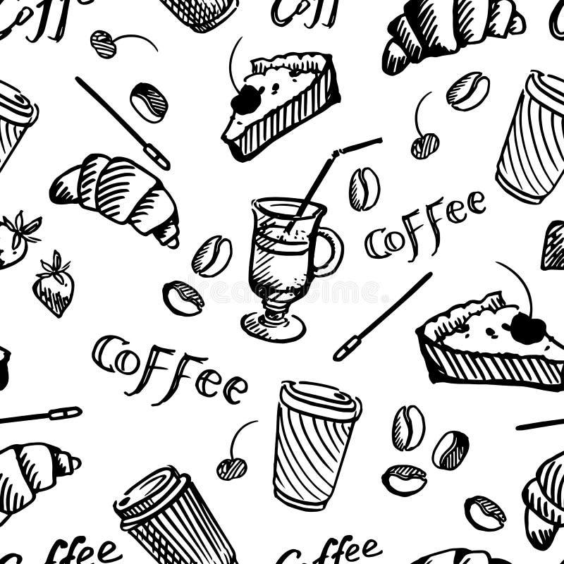 Sömlös modell av kaffe och muffin royaltyfri illustrationer