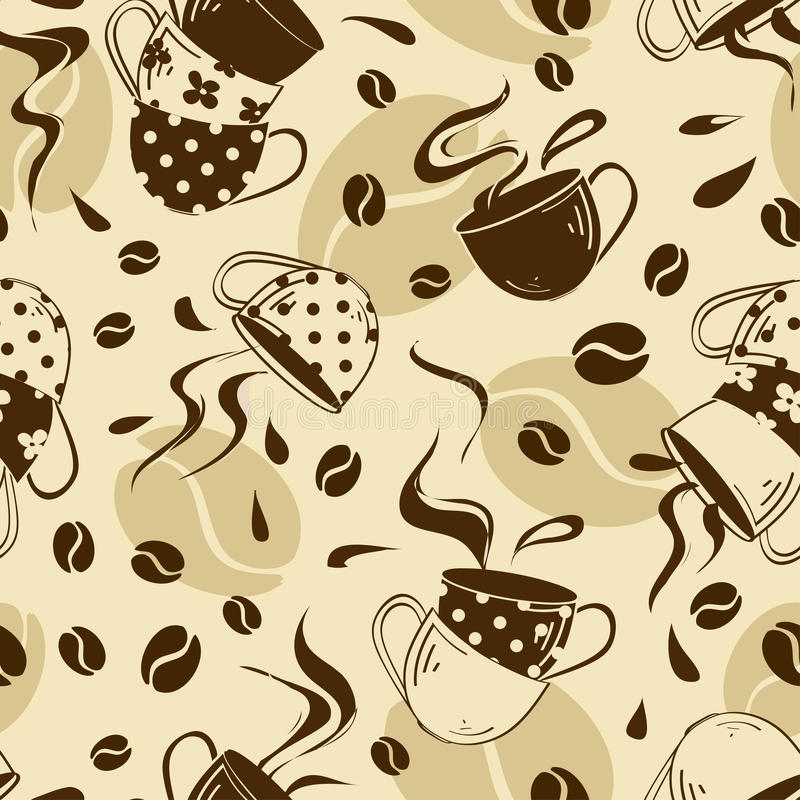 Download Sömlös Modell Av Kaffekoppar Vektor Illustrationer - Illustration av gyckel, retro: 37348124
