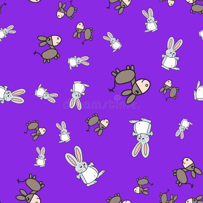 Sömlös modell av kaniner och åsnor i tecknad filmstil stock illustrationer