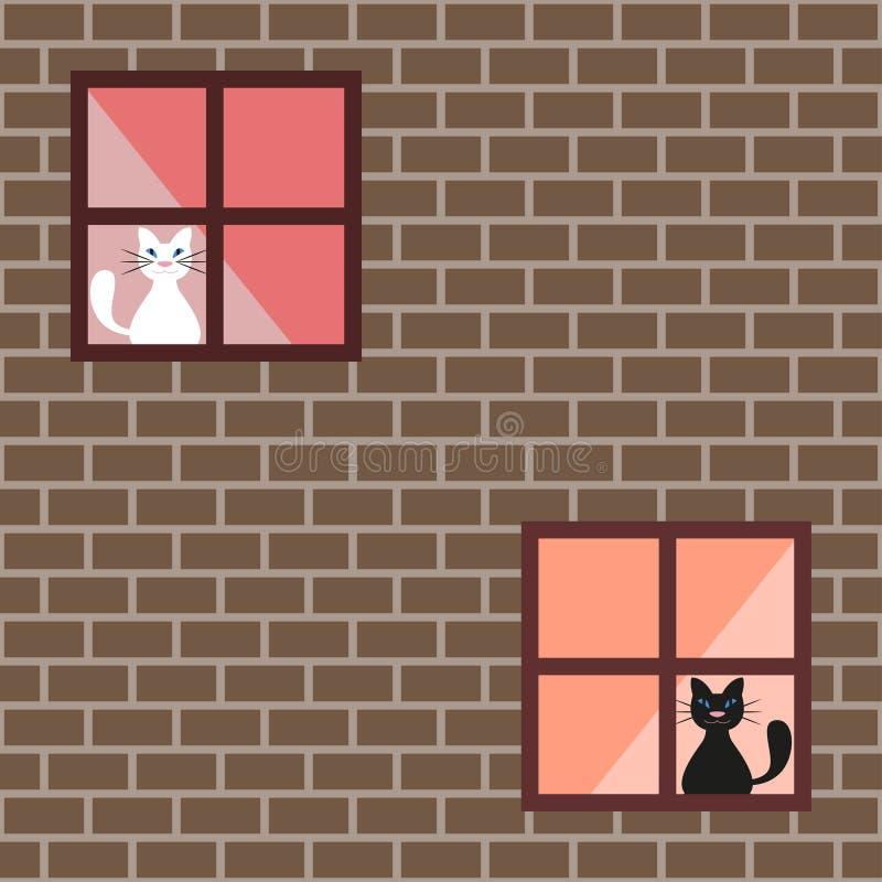 Sömlös modell av katter i husfönster, katter bak gardiner vektor illustrationer
