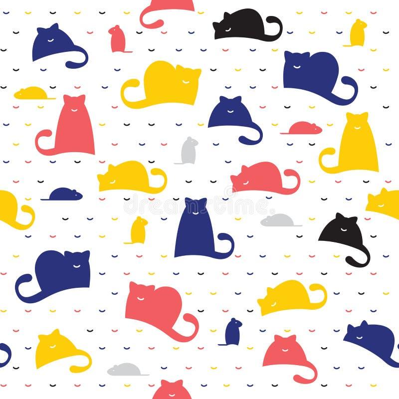 Sömlös modell av katter och möss på en vit bakgrund royaltyfri illustrationer