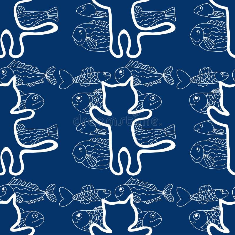 Sömlös modell av katterna och fiskvektorn stock illustrationer