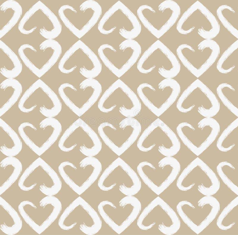 Sömlös modell av kedjor av vita hjärtor från vattenfärgborstar på ljust - brun pastellfärgad bakgrund vektor illustrationer
