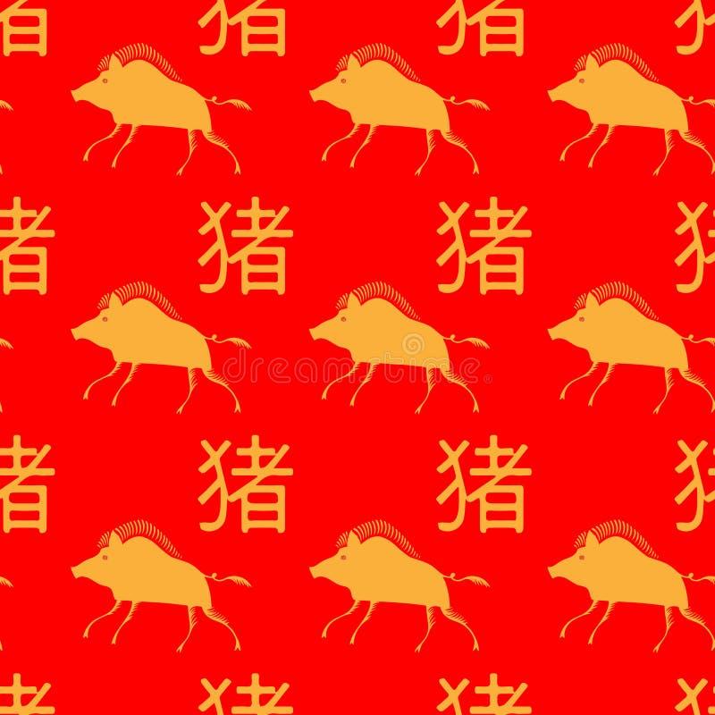 Sömlös modell av kinesiska svin för nytt år med hieroglyf och galter stiliserad rysk Mezen målning stock illustrationer