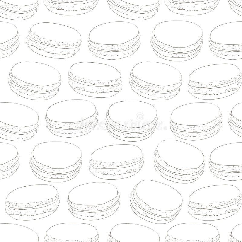 Sömlös modell av klottermakron Skissa makron macaroons stock illustrationer