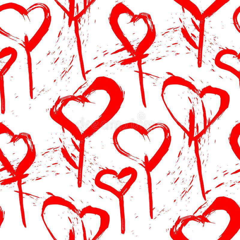 Sömlös modell av klubbor i formen av hjärtor som är röda på vit bakgrund royaltyfri illustrationer