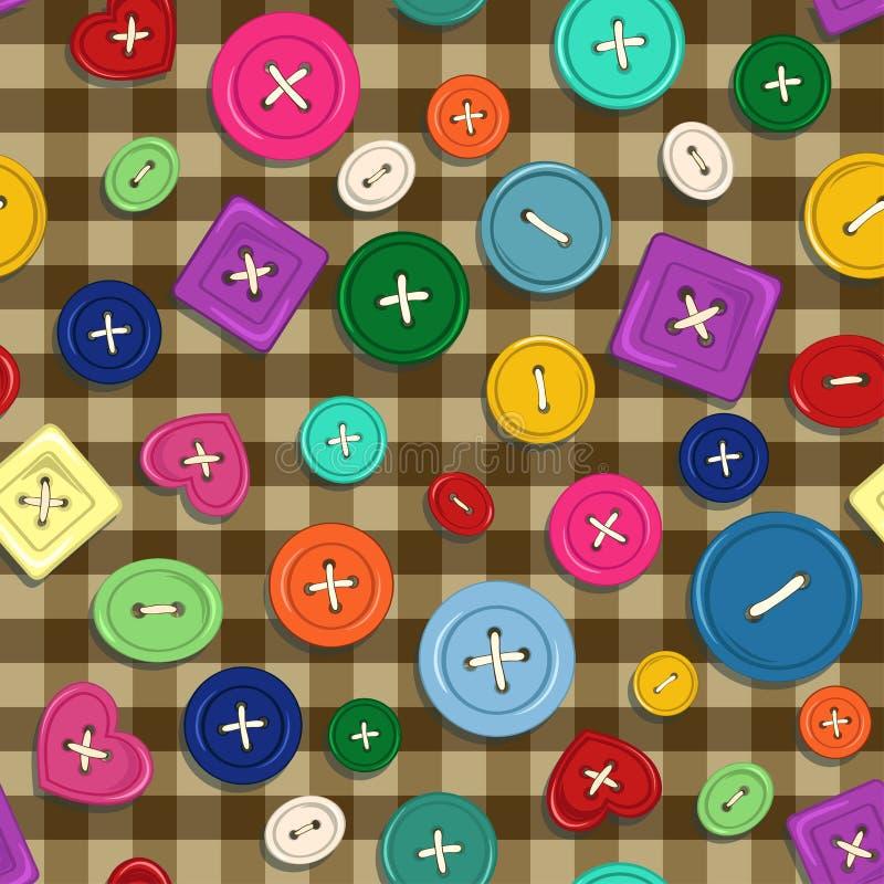 Sömlös modell av knappar stock illustrationer