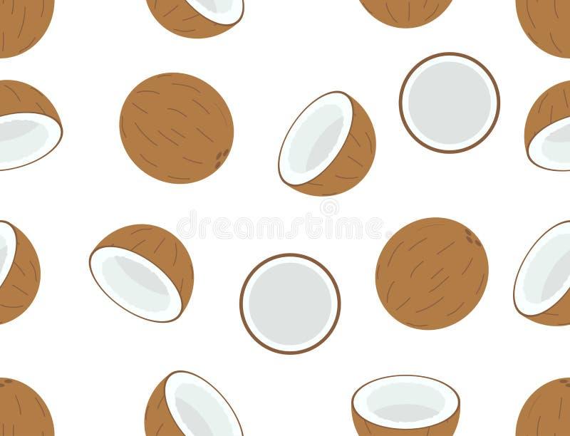 Sömlös modell av kokosnötfrukt på vit bakgrund royaltyfri illustrationer