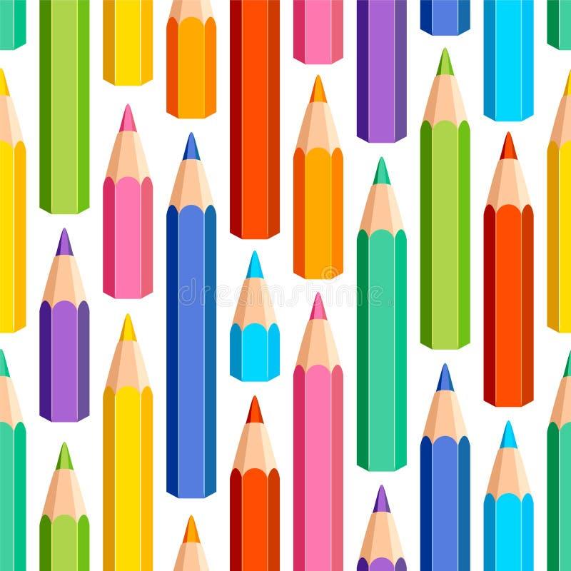 Sömlös modell av kulöra blyertspennor royaltyfri illustrationer