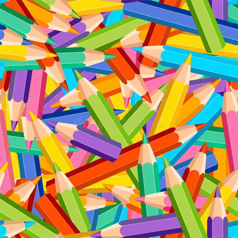 Sömlös modell av kulöra blyertspennor vektor illustrationer