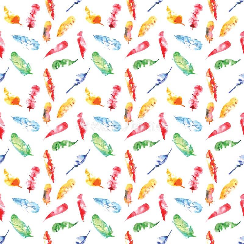 Sömlös modell av kulöra fjädervattenfärger på vit stock illustrationer