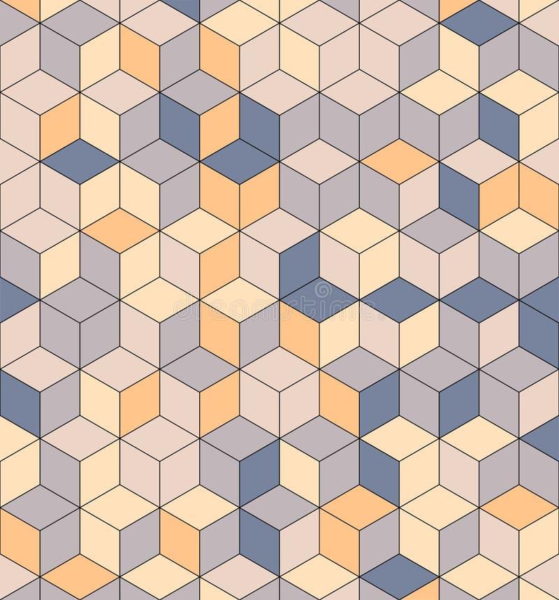 Sömlös modell av kulöra kuber Ändlös mångfärgad kubikbakgrund Kubmodell Kubvektor Skära i tärningar bakgrund abstrakt hav stock illustrationer