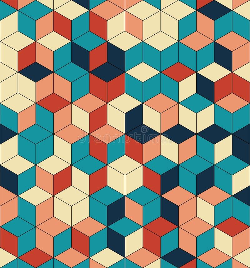 Sömlös modell av kulöra kuber Ändlös mångfärgad kubikbakgrund Kubmodell Kubvektor Skära i tärningar bakgrund abstrakt hav vektor illustrationer