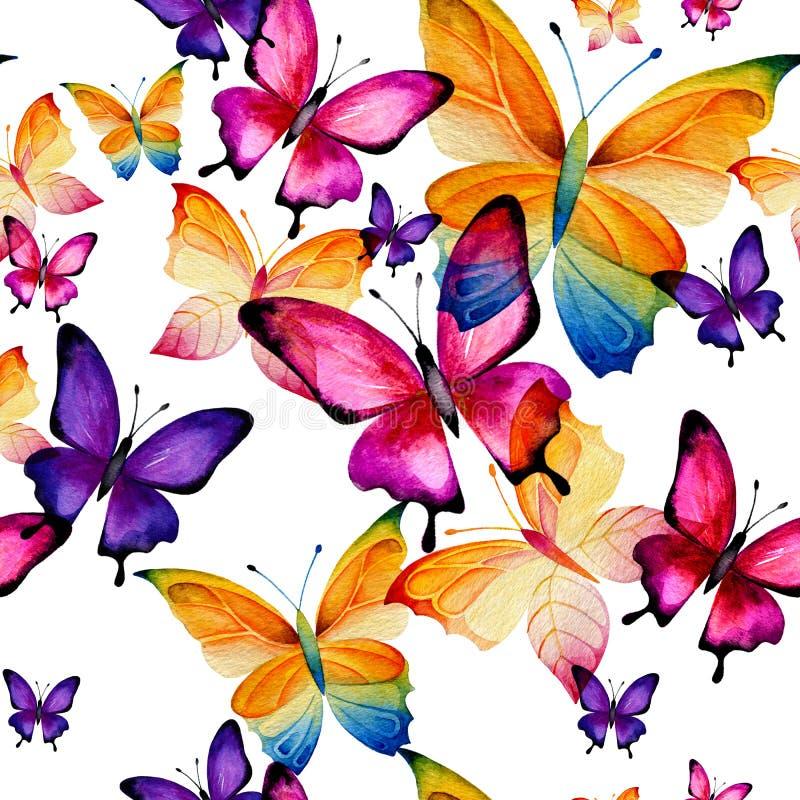 Sömlös modell av lila fjärilar vektor illustrationer