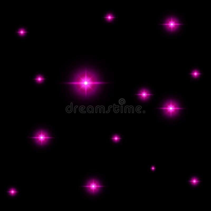 Sömlös modell av lysande stjärnor Illusion av ljusa exponeringar Rosa flammor vektor illustrationer