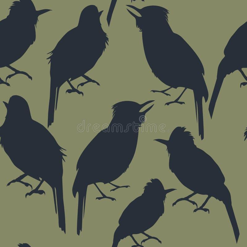 Sömlös modell av mörka konturer av den tropiska fågeln på en grön bakgrund royaltyfri illustrationer