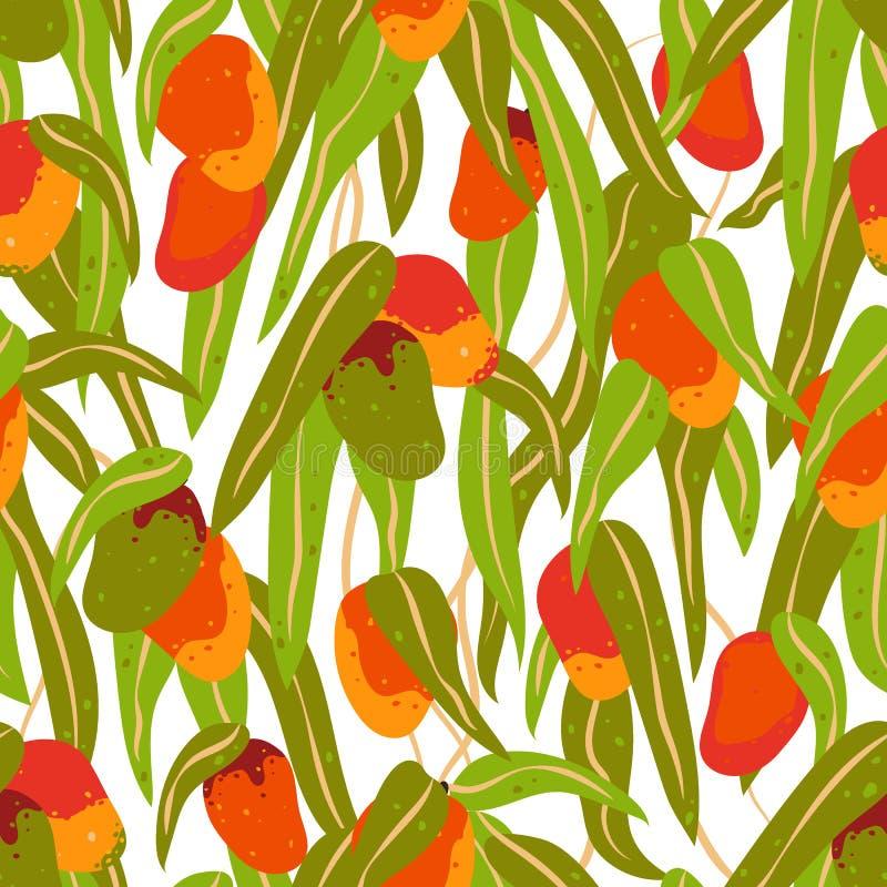 Sömlös modell av mangofrukter och sidor stock illustrationer