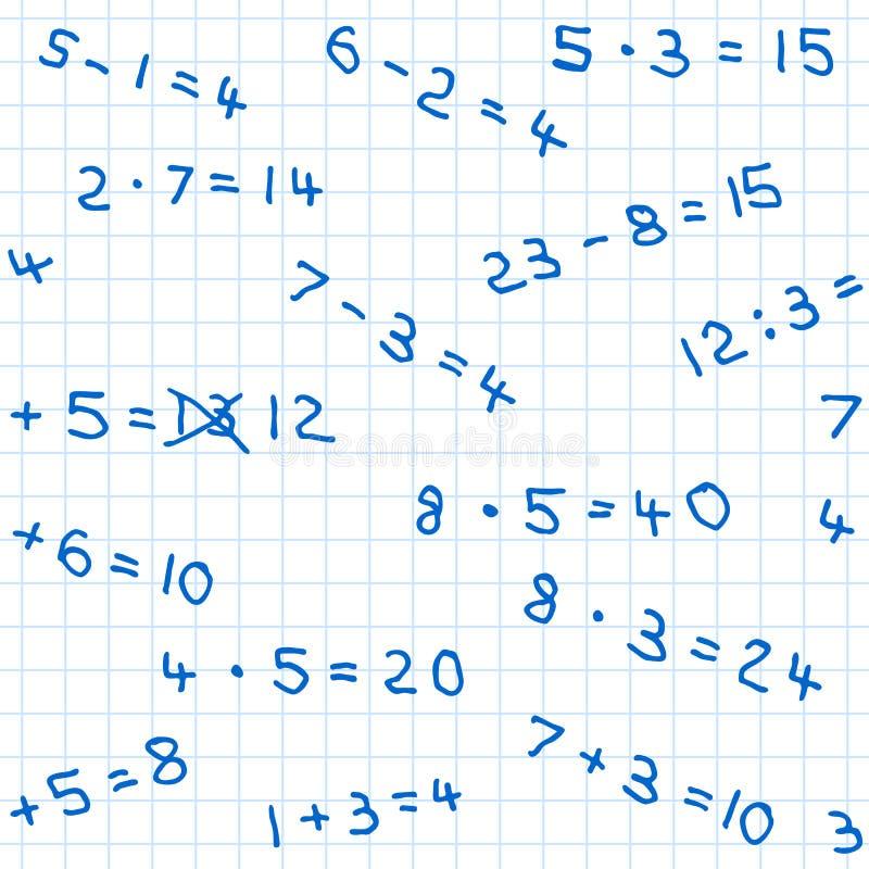Sömlös modell av matematikläxa på rutigt papper vektor illustrationer