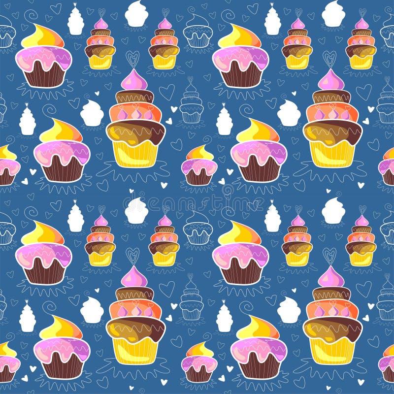 Sömlös modell av muffin vektor illustrationer