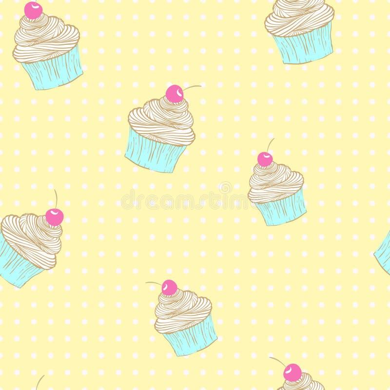 Sömlös modell av muffin stock illustrationer