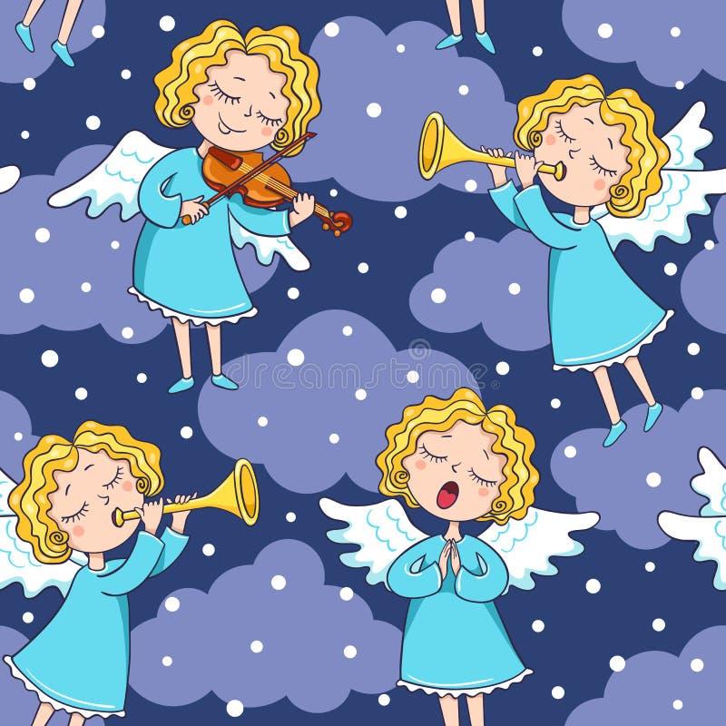 Sömlös modell av musikbandet av änglar på mörkret vektor illustrationer