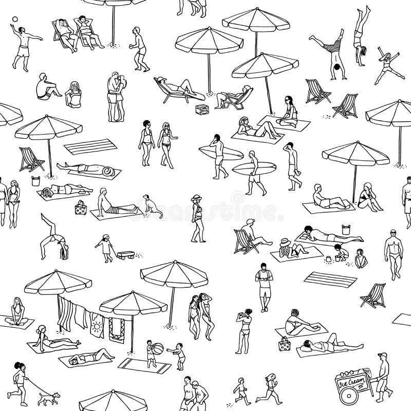 Sömlös modell av mycket litet folk på stranden royaltyfri illustrationer