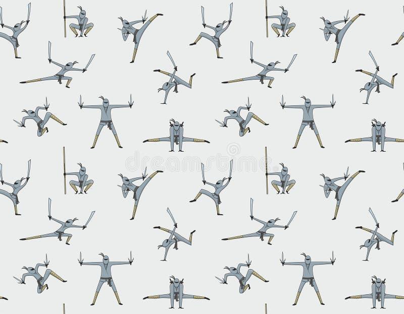 Sömlös modell av ninjaen stock illustrationer