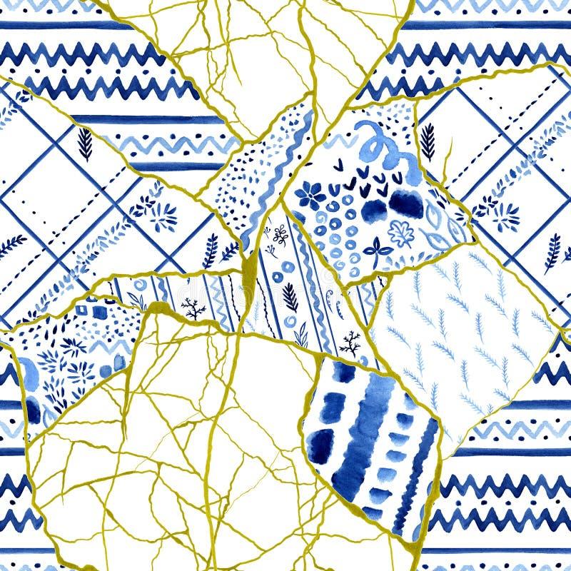 Sömlös modell av olika fragment - Kintsugi begrepp, bruten disk, patchwork med guld- sprickor och blå prydnad royaltyfri illustrationer