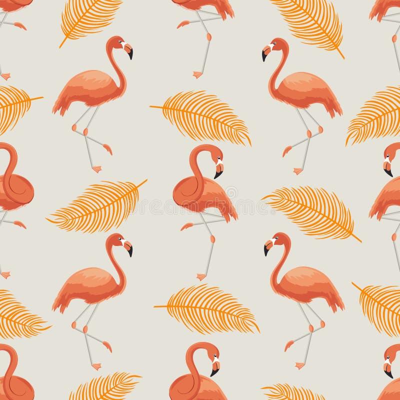 Sömlös modell av orange flamingo och sidor royaltyfri illustrationer
