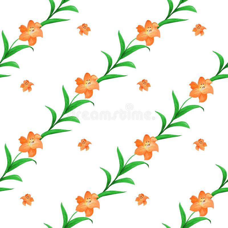 Sömlös modell av orange liljor av det olika formatet med gröna sidor som flätas samman på en vit bakgrund royaltyfri illustrationer