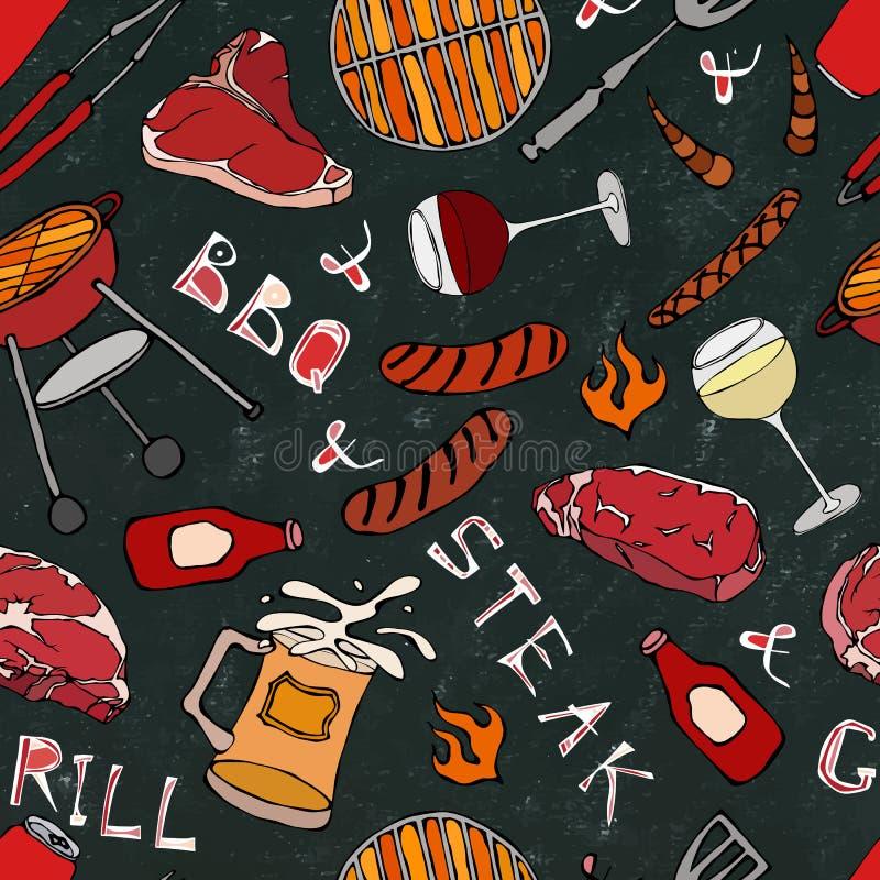 Sömlös modell av partiet för sommarBBQ-galler Exponeringsglas av röda vita VineSteak, korv, grillfestraster, tång, gaffel Svart b vektor illustrationer