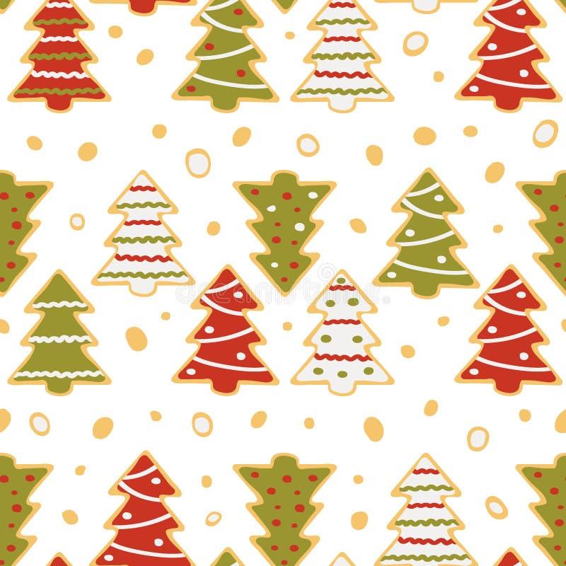 Sömlös modell av pepparkakan i form av julgranar stock illustrationer