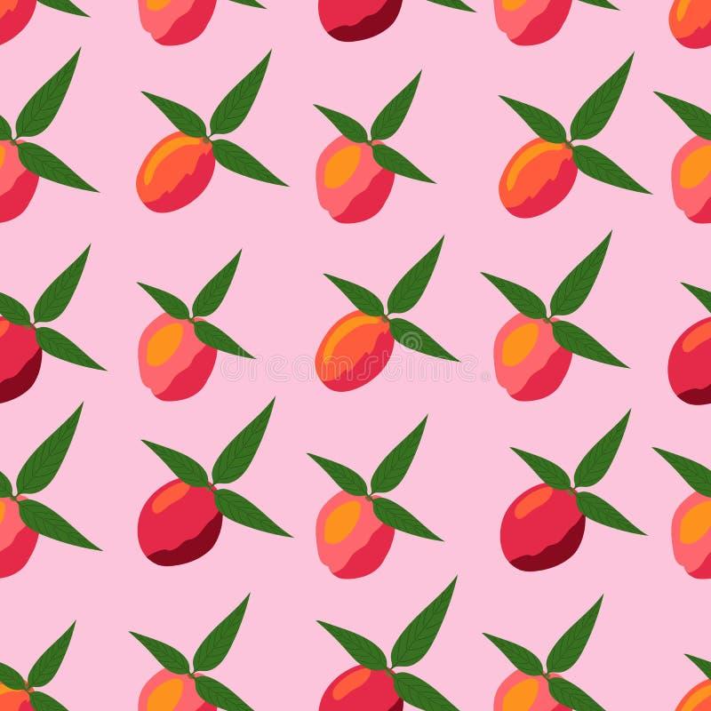 Sömlös modell av persikor på en rosa bakgrund stock illustrationer