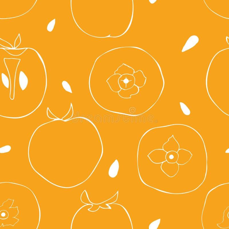 Sömlös modell av persimonet med frö Ljus bakgrund av tropiska frukter royaltyfri illustrationer
