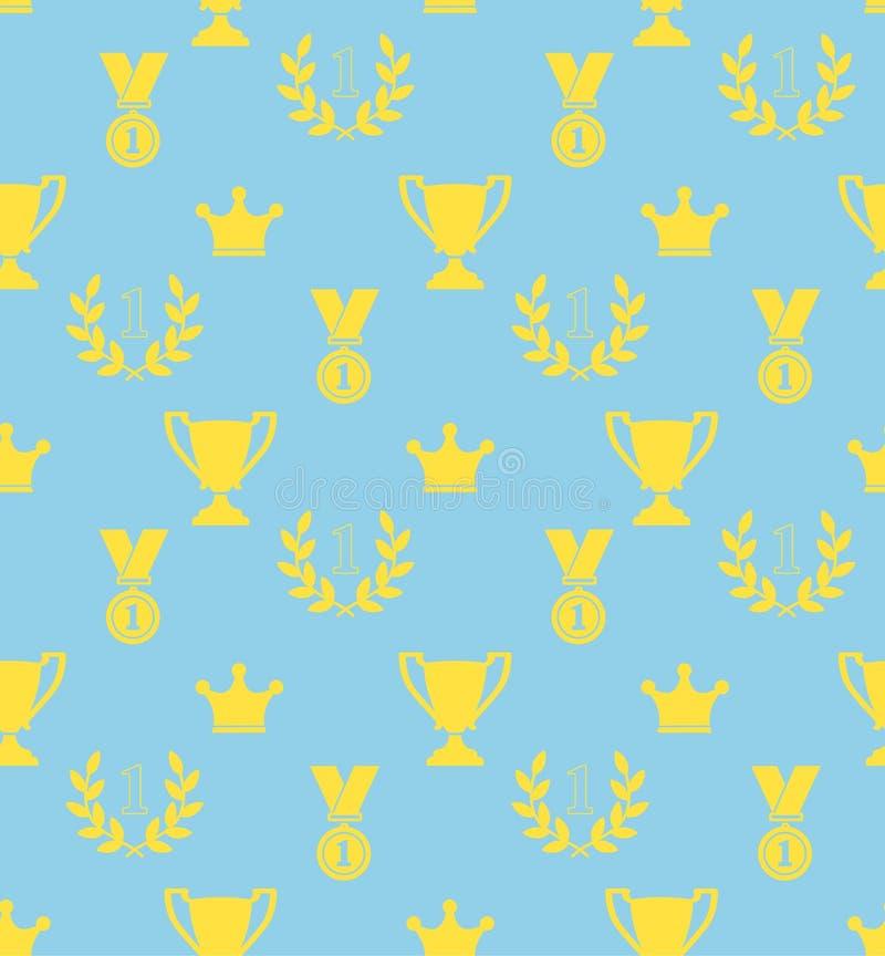 Sömlös modell av priskopparna, lagerkransar, medaljer, galande royaltyfri illustrationer