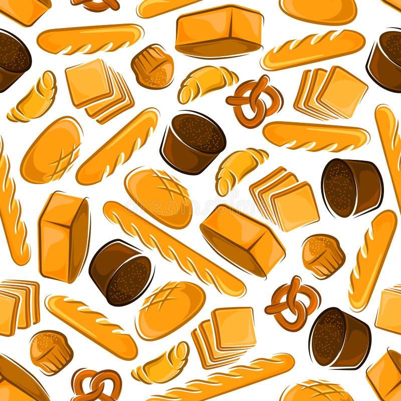Sömlös modell av produkter för nytt bröd royaltyfri illustrationer