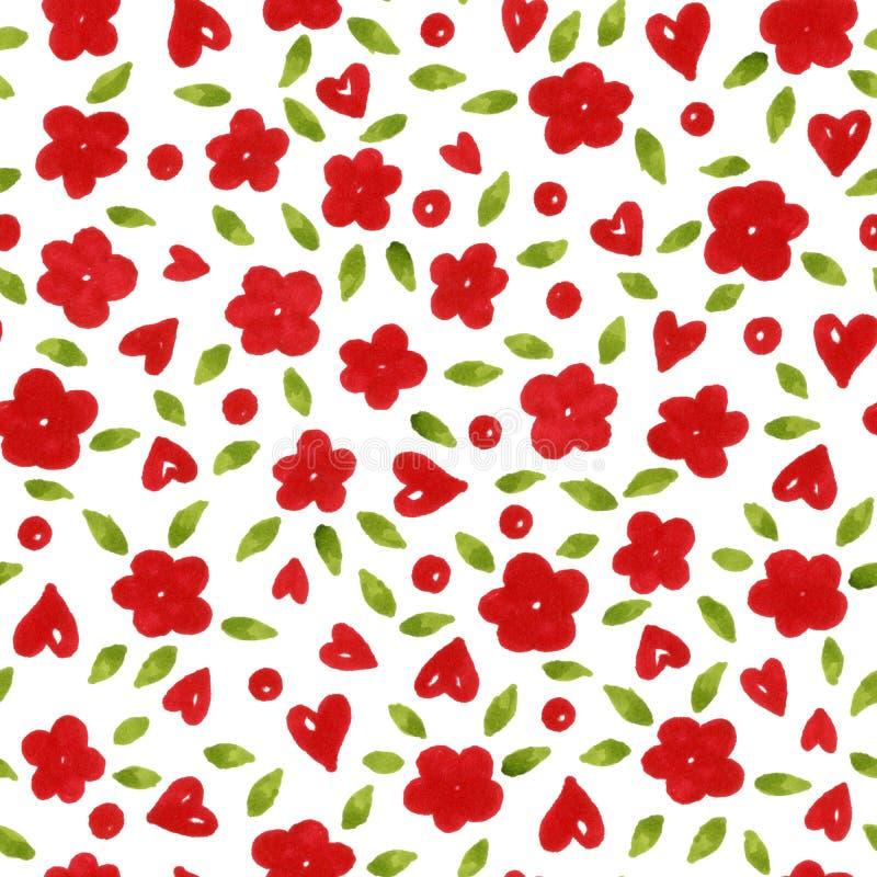 Sömlös modell av röda blommor och det gröna bladet med hjärtor vektor illustrationer