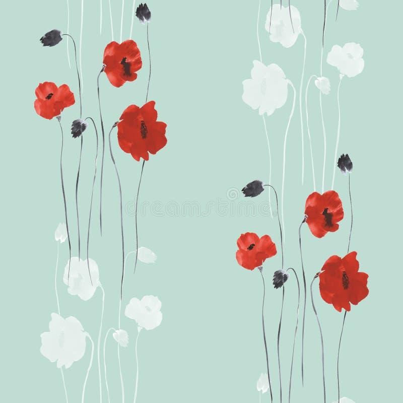 Sömlös modell av röda blommor av vallmo på en grön bakgrund vattenfärg stock illustrationer