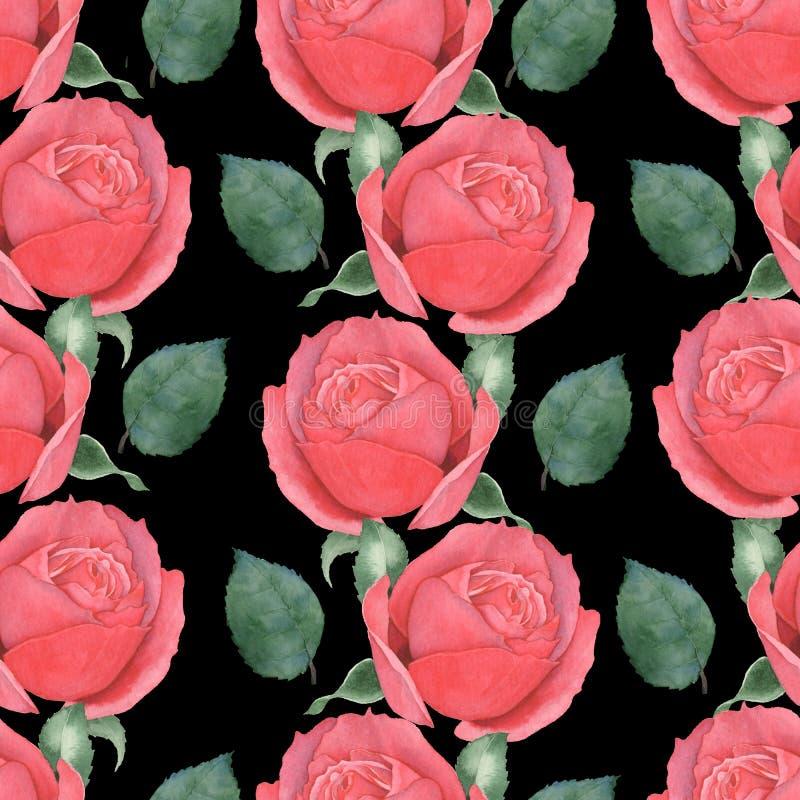 Sömlös modell av röda rosor för flygillustration för näbb dekorativ bild dess paper stycksvalavattenfärg hand-teckning 2 royaltyfri illustrationer